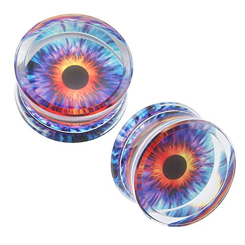 SongMyao Ausgestelltes Expander Lila Auge Muster Ohr Muskeltunnel mit O-Ring Acryl Ohrstöpsel Plug Expander Bahre Tunnel Prüfdorns Ear Expanders (Größe : 18mm)