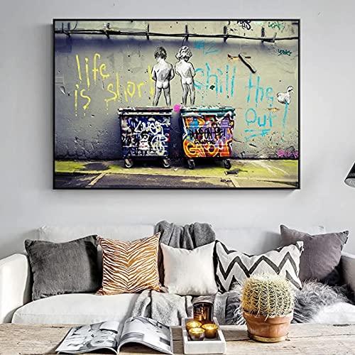 qianyuhe Impresión en Lienzo Banksy Graffiti Art Posters e Impresiones Abstractos La Vida es Corta Chill The Duck out Decoración del hogar 60x90cm