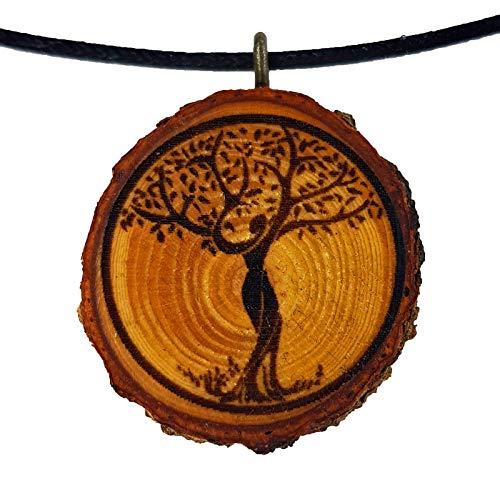 SOULSLICES Baum des Lebens 8 Halskette - Natur - Holzanhänger - Vegan - Öko - Astschmuck - Gravur - Yoga - Bedeutung- Geschenkidee - NaturSchmuck - Damen - Frauen