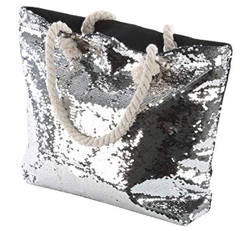 Bingo-Shop! Umhängetasche mit Wende-Pailletten Schultertasche Handtasche Tasche Strandtasche Damen Sommer für Reise, Kaufen, Ausflug [Linie F10] (Monaco) 33 x 45 x 15 cm