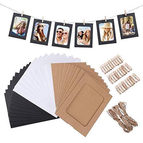 QUUY 30 stuks papieren fotolijst met 30 houten wasknijpers en 3 stuks van 2 meter henneptouw, innovatieve kraftpapier-combinatie fotolijst voor hangende wanddecoratie 6 inch 3 kleuren