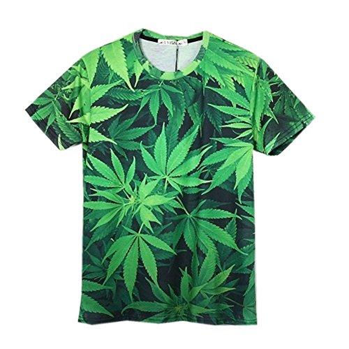 Unisex Weed Hemp Leaf Print Galaxy Short Sleeve 3D T Shirt (L) Green