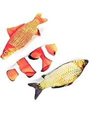 3 Pack Catnip Toys for Cats Fish Catnip Toys Cat Toys Simulation Plush Fish Shape Toy Doll Interactive Pets Pillow Chew Bite Kick Supplies for Cat Kitten Kitty