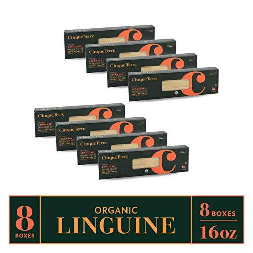 Cinque Terre Pasta Organic Durum Wheat Bronze Die Cut Italian Pasta, Linguine, 16 Ounce (Pack of 8)