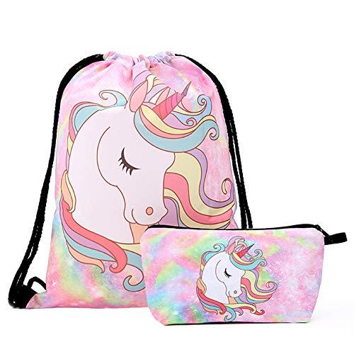 BESLIME Unicorn Turnbeutel Einhorn Geschenke für Mädchen 2 Stück Einhorn Kordelzug Rucksack/Make-up Tasche