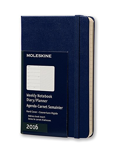 Moleskine 2016 Weekly Notebook, 12M, Pocket, Royal Blue, Hard Cover (3.5 x 5.5)