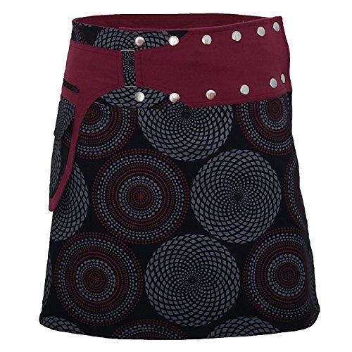 PUREWONDER Damen Wickelrock Baumwolle Rock mit Tasche sk172 Schwarz Einheitsgröße verstellbar