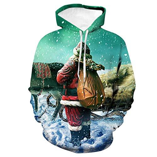 Simmia home Sweat à Capuche 3D Imprimer Pull Sweatshirt,Loose Couple Shirt Shirt, vêtements de Baseball, Santa Green, XL,Décontracté Pullover pour Garçon Fille Ado