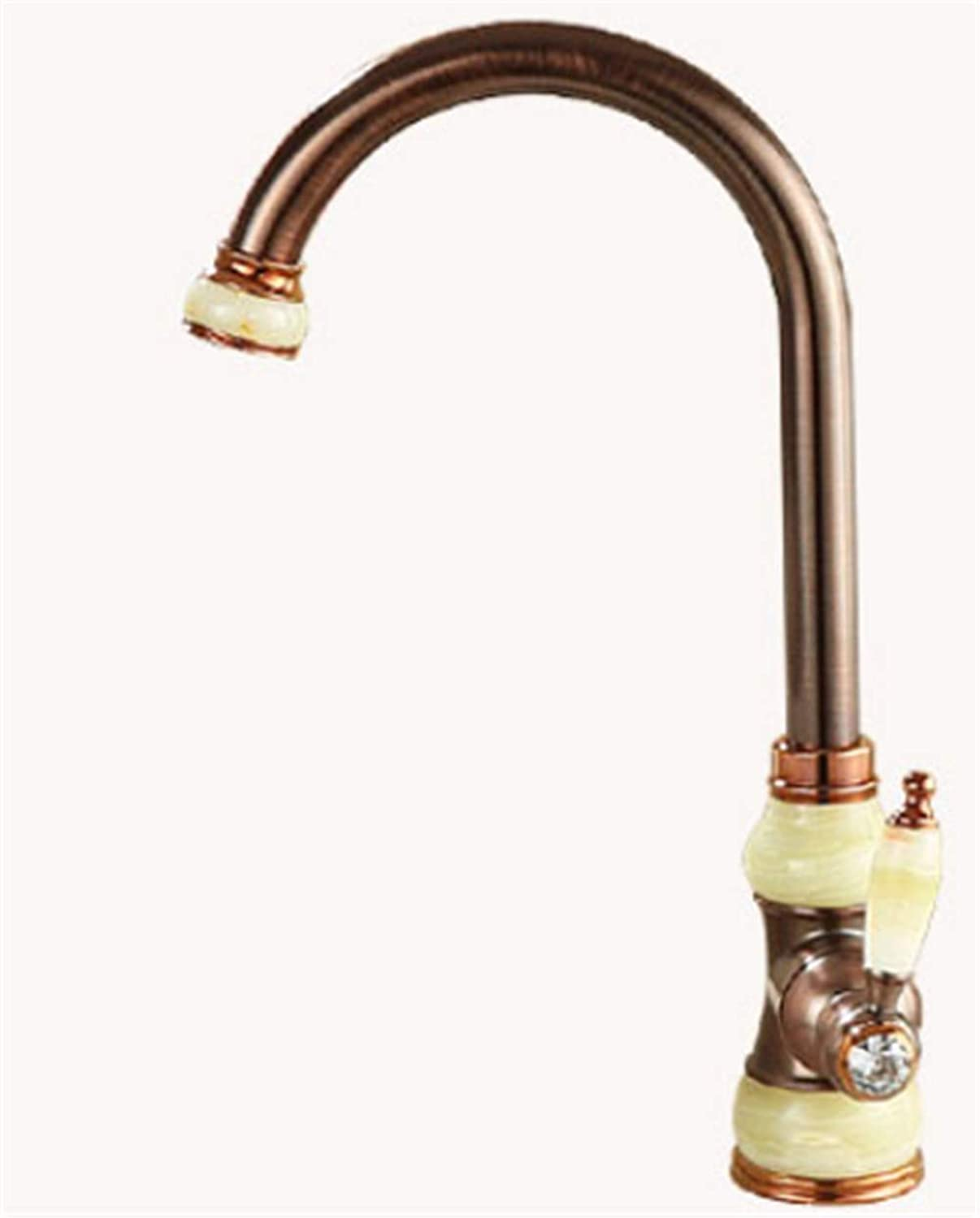 Natural Jade Copper Basin Above Counter Basin hot and Cold Water Faucet Brown Bronze Sink Kitchen Faucet