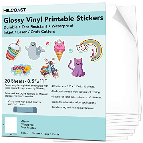 Milcoast Glossy Waterproof Printable Vinyl Full Sheet Sticker Paper Labels - Adhesive, Inkjet/Laser Printer Compatible - for Arts, Crafts, Decals, Stickers, and More (20 Sheets)