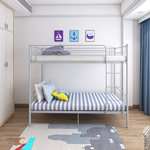 Panana 4 Colors Available Twins Single Bunk Bed 2pcs 3FT Metal Bed for Twins Adults Bedroom (Silver Grey)