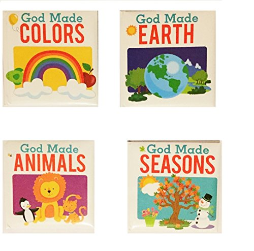 God Made Seasons, Colors,Earth And Animals,4 Pack Board Books