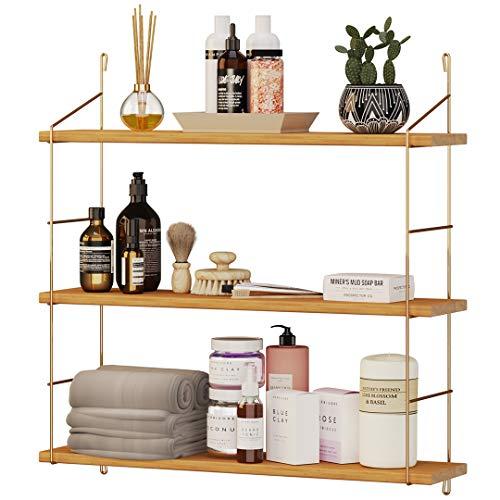 Estantería de pared de madera, moderna estantería flotante con 3 estantes, diseño...