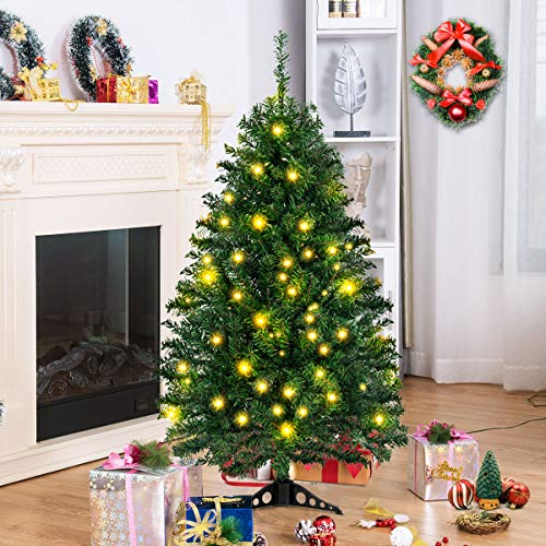 Tangkula Artificial Christmas Tree with PVC Base Decoration for Christmas Hogra Green Party