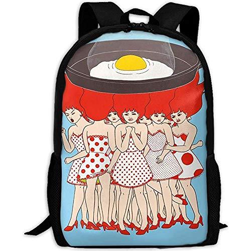 FWEF chicas de pelo rojo cocinar huevos en llamas mochila con estampado 3D completo mochila escolar para ordenador portátil mochila de viaje para unisex