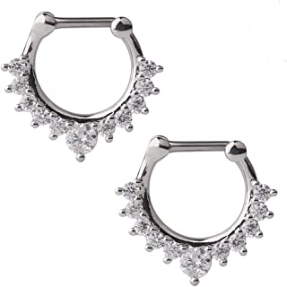 16G Horseshoe Circular Barbell and Nose Ear Daith Septum Clicker Ring with Clear CZ Gems 316L Surgical Steel 2-16PCS