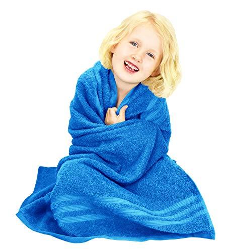 Lashuma London Toalla Infantil de Rizo, Toalla Playa para niño Color: Azul Capri, Toalla Cuadrada 100x100 cm