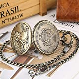 UIEMMY Reloj de bolsillo Estatua de la Libertad Moneda Conmemorativa 1oz Plata fina Monedas de un dólar Coleccionables Estados Unidos de América Reloj de bolsillo de cuarzo, cadena de 30 cm