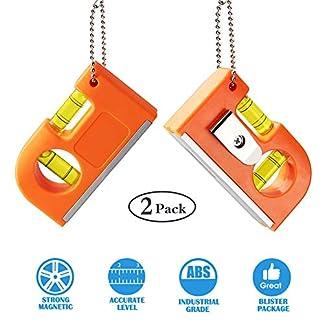 Bestcool – Juego de 2 herramientas pequeñas de nivel de bolsillo, con llavero de metal de dos niveles y gancho para azulejos