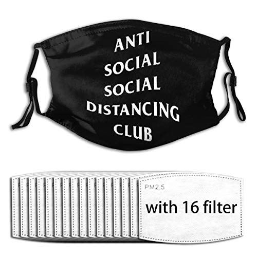 Maskes- Anti Social Social Distancing Club Wiederverwendbare Staubschutzhülle Mit Filter with 16 Filter