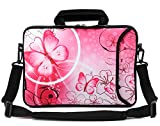 RICHEN 14 15 15.4 15.6 inch Laptop Shoulder Bag Messenger Bag Case Notebook Handle Sleeve Neoprene Soft Carring Tablet Travel Case with Accessories Pocket (14-15.6 inch, Pink Butterfly)