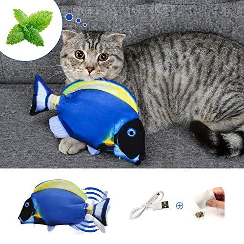 DazSpirit Katzenspielzeug Fisch, Elektrische Katze Spielzeug Fisch Katzenspielzeug Mit Katzenminze, Interaktiv Fisch Spielzeug Für Katzen, USB Aufladung, Waschbar