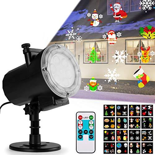Qomolo Luces Proyector Navidad LED, Realce Lámpara de Proyección de Navidad con 16 Diapositivas y Control Remoto, Proyección Interior y Exterior Decoración Para Navidad Fiesta,Boda,Festival,Valentín