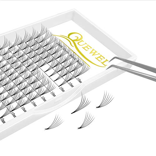 Russian Volume Premade Fans Eyelashes Extension 5D 6D Thickness 0.07/0.10 Curl C/D Length 8-15mm by Quewel(6D-0.07-C, 10mm)