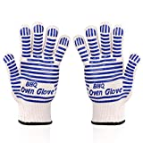 Oven Gloves Oven Glove BBQ Glove Mitt Glove Grill Gloves Extreme Heat Resistant Oven Gloves - EN407 Certified 932F - Cooking Gloves for Grilling, Baking,Cutting, Smoker Fireplace,2 PACK (Blue)