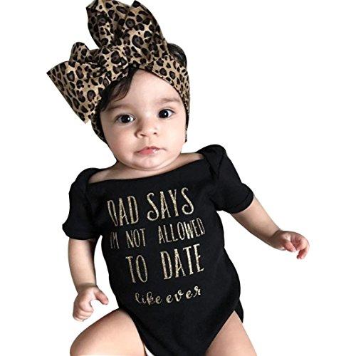 Strampelanzug URSING Süßes Baby Prinzessin Mädchen Säugling Brief Drucken Kurzarm Jumpsuit Overall Romper Strampler+ Bowknot Stirnband Outfits Kleidung Set Babyausstattung (70, Schwarz)