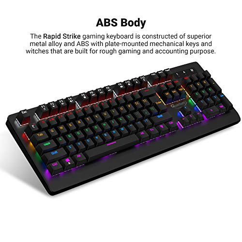 Quantum QHM9800 Rapid Strike Mechanical Gaming Multimedia Wired Keyboard with 6-Colour RGB LED, 12 Adjustable Lighting Modes, Lasting Durability and Rupee (₹) Key (Black)