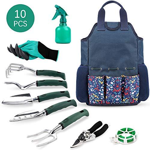 INNO STAGE Gartengeräte-Set und Organizer-Einkaufstasche mit 10-teiligen Gartengeräten, bestes Garten-Geschenkset, Gemüsegarten-Handwerkzeug-Kit-Tasche mit Gartengrabklaue Gartenhandschuhe-Blau