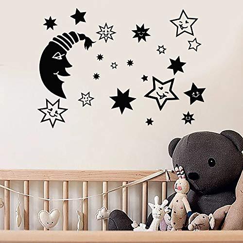Tianpengyuanshuai Cartoon muur decal maan ster babykamer kinderkamer slaapkamer huisdecoratie vinyl raam sticker