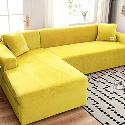 LINGKY Velvet Plüsch Schonbezug Sofa, rutschfeste Stretch Sofabezug Schonbezug Soft Thick Sofa Protector Für L-förmige Schnittcouch (Gelb,3 Seater(190-230cm))