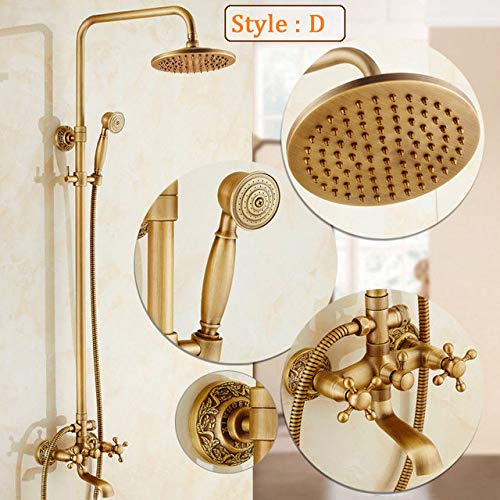 DAMO&GUYAN douchesysteem, douchearmaturen, douchecabine antieke kranen, Top Spray regen douchekop wandbadkuip in Europese stijl in Europese stijl, antieke stijl D.