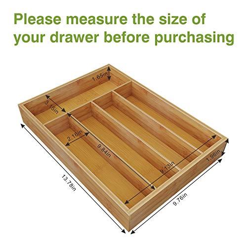 BAMEOS Utensil Drawer Organizer, Cutlery Tray Desk Drawer Organizer Silverware Holder Kitchen Knives Tray Drawer Organizer, 100% Pure Bamboo Cutlery in Natural Color (9.76)