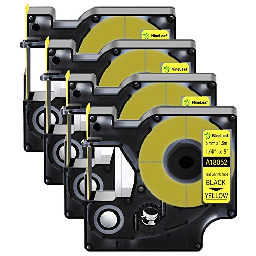 """Nineleaf 4 Pack Compatible for DYMO 18052 Rhino Heat Shrink Tube Industry Label Tape 6mm 1/4"""" x 5ft Black on Yellow Wire Tapes for Industrial Rhino Pro 3000 4200 5000 5200 6000 3M Label Maker"""