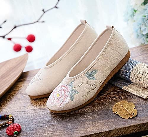 GaYouny Zapatos Bordados Bordado de Flores Tela de algodón de Las Mujeres Slip en Zapatos Planos Soft Cómodo Casual Ballets Nonlips Plataformas (Color : White, Size : 36 EU)