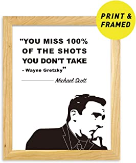 Ihopes Michael Scott Inspirational Motivational Quotes Posters Prints Wall Art Decor | 8x10 (Framed) | You Miss 100% of The Shots | The Office TV Show Gifts for Office/Home/Dorm Decor