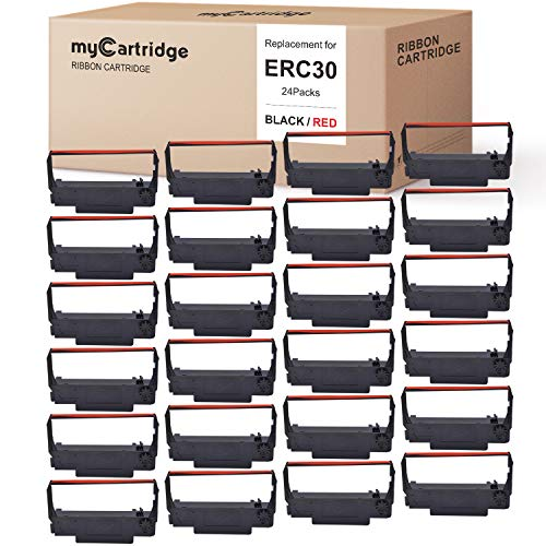 myCartridge 24 Pack ERC30 ERC-30 ERC 30 34 38 B/R Compatible with Ribbon Cartridge for use in ERC38 NK506 (Black Red)