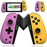 ECHTPower Wireless Controller for Nintendo Joycon Switch, Macro Button/Turbo/Vibration/Motion Functions, L/R Switch Controller Joypad, Nintendo Switch Controllers for Joy Con (Purple and Yellow)