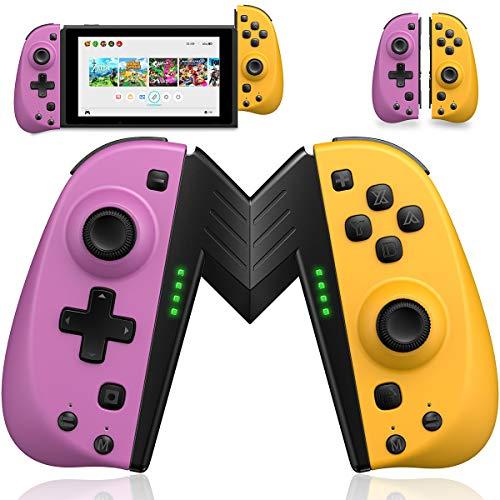 ECHTPower Wireless Controller for Nintendo Joycon Switch, Macro Button/Turbo/Vibration/Motion Functions, L/R Switch Controller Joypad, Nintendo Switch Controllers for Joy Con (Purple and Yellow)