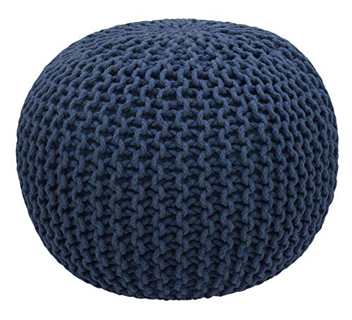 COTTON CRAFT - Hand Knitted Cable Style Dori Pouf - Blue - Floor Ottoman - Cotton Braid Cord - Handmade & Hand Stitched - Truly one of a Kind Seating - 20 Dia x 14 High