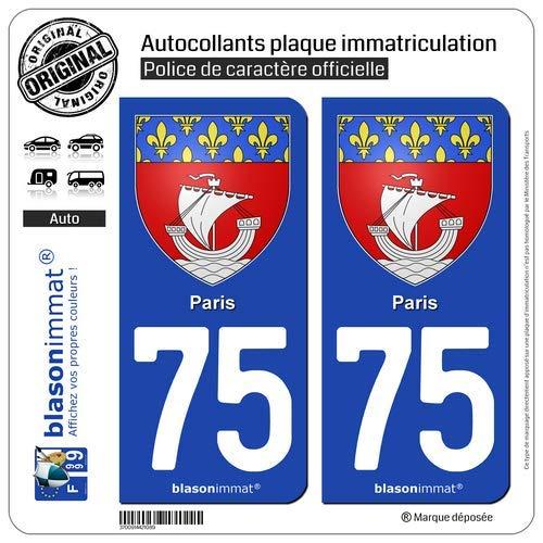 blasonimmat 2 Autocollants Plaque immatriculation Auto 75 Paris - Armoiries