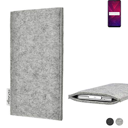 flat.design Handy Hülle Porto für Coolpad Cool 3 maßgefertigte Handytasche Filz Tasche Schutz Hülle fair grau