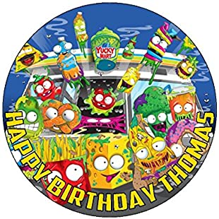 """Grossery Gang 7.5"""" Round personalised birthday cake topper printed on icing (WAFER CARD)"""