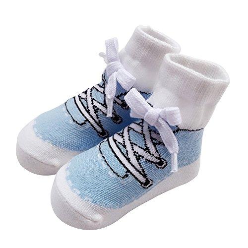 Sanlutoz Baby Socken Jungen Baumwolle Söckchen mit Muster Kindersocken im Turnschuh-Look 0-6 12Monate (0-12 Monate, SOCKA014-LB)