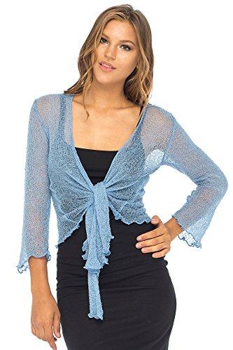 Back From Bali Womens Lightweight Knit Cardigan Shrug Lite Sheer Wedgewood Blue