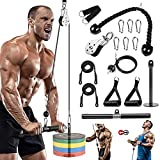 Pulley Cable Machine System, 1.8M Gym Fitness Cable Pulley system with Loading Pin, Tricep Strap, Straight Bar Forearm Wrist Roller Trainer for LAT Pulldowns, Bicep Curls, Fitness Workout Equipment