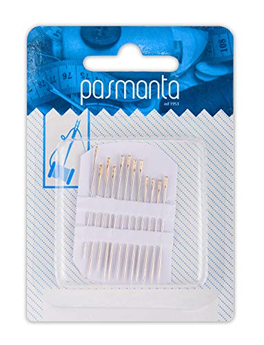Pro Easy-Threading Self-Threading Needles, 12 V-Shaped Eye Needles, Assorted Sizes, Quality Sewing Accessories, by Pasmanta Since 1953